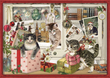 Deluxe Traditional A4 Christmas Advent Calendar - Playful Christmas Kittens