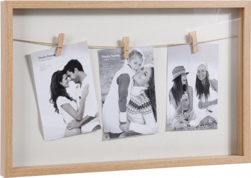 Clothes Line Style Natural White Triple Peg Display Box Photo Picture Frame