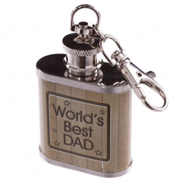 1Oz Stainless Steel Mini Hip Flask Key Ring Keyring - Worlds Best Dad