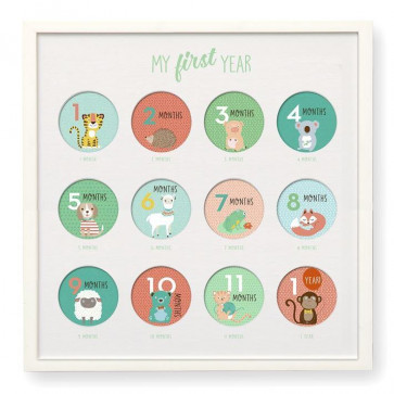 My First Year Wall Gallery 12 Month Milestone Picture Frame with Photo Stickers