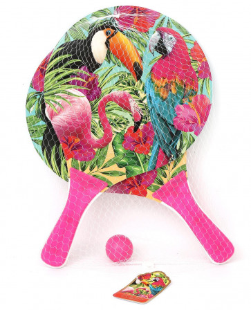Tropical Colourful Beach Garden Boom Paddle Bat and Ball Game Set