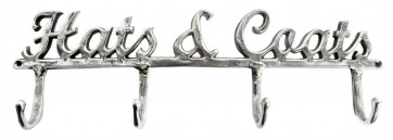 Silver Metal Hats And Coats Sign Hanger Hook Pegs ~ Wall Mounted Coat Rack