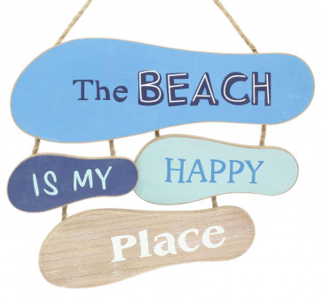 Nautical Flip Flop Sign - Footprints In The Sand Wooden Hanging Plaque - The Beach