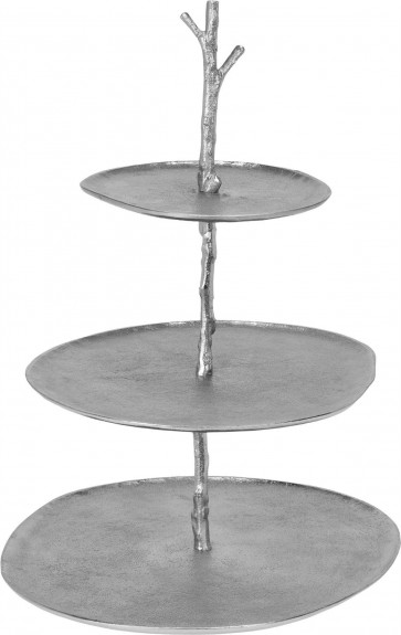 Elegant 3 Tier Hammered Silver Metal Cake Stand Food Appetiser Dishes Serving Tray Plates