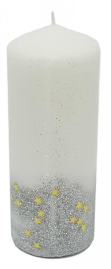 Glitter Star White Pillar Church Candle - Large Unscented Sparkly Block Alter Candle 18cm ~ Silver