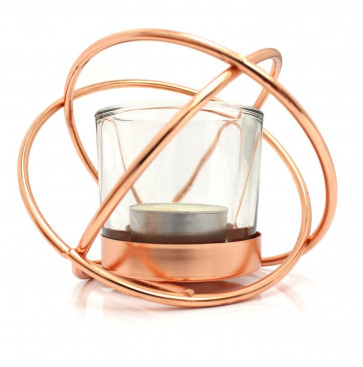 Rose Gold Effect Metal Cross Over Tealight Candle Holder