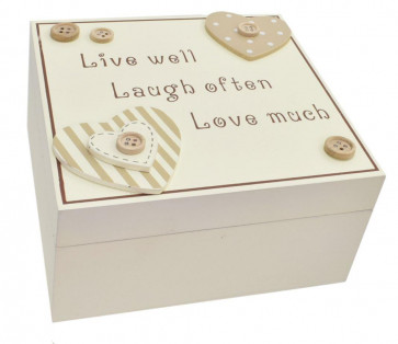 Beautiful Wooden Trinket Keepsake Storage Box with Hearts - Live Well Laugh Often Love Much
