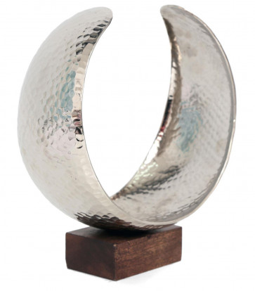 Statement Curved Hammered Silver Metal Crescent Candle Holder On Wooden Base