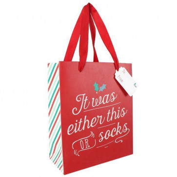 Medium Red Christmas Gift Bag With Lace Handles ~ It Was Either This Or Socks