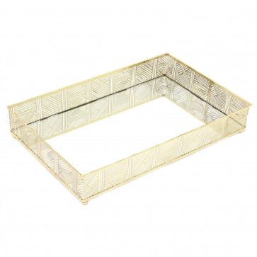 Beautiful Gold Lattice Mirrored Display Dish | Rectangle Decorative Metal Table Centerpiece | Perfume Jewellery Organiser Vanity Tray - 34cm