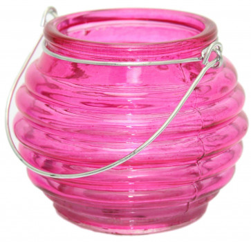 Bright Coloured Glass Ribbed Tealight Candle Holder Pot With Wire Handle ~ Pink