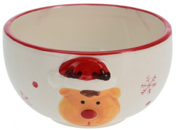 Ceramic Christmas Snack Nibbles Bowl with Decorative Rudolph Reindeer Design