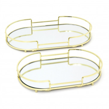 Art Deco Set Of 2 Gold Oval Mirrored Display Tray | Perfume Jewellery Cosmetic Organiser | Decorative Metal Double Vanity Dish