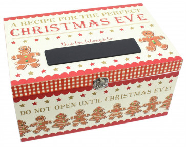 Xmas Gingerbread Christmas Eve Present Treat Keepsake Wooden Box With Chalkboard