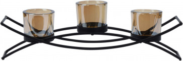 Stylish Black Metal Set Of 3 Glass Tealight Candle Holders ~ Contemporary Tea Light Votive Display