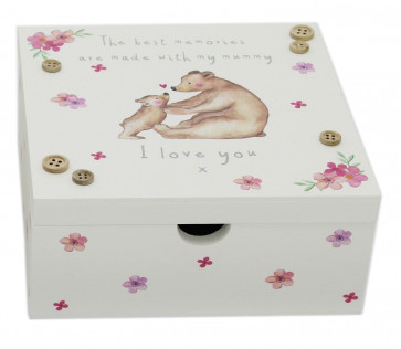 Bear Keepsake Mummy And Daughter Wooden Memory Trinket Box - I Love You