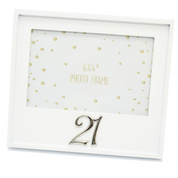Beautiful White Wooden Picture Frame ~ 21st Birthday Photo Frame