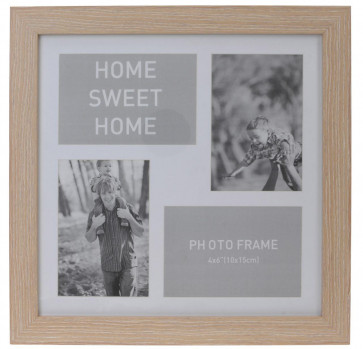 4 Aperture Home Sweet Home Wooden Multi Photo Picture Frame - Light Wood