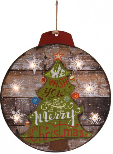 LED Light Up Hanging Christmas Bauble Wooden Decorative Wall Plaque Decoration - Tree Design