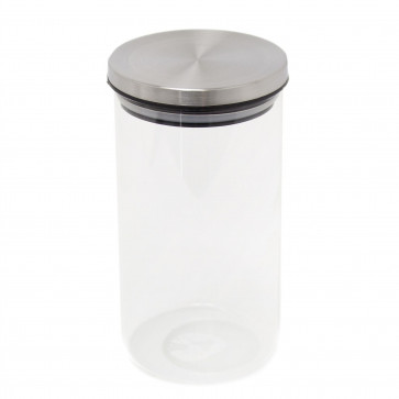 Round Glass Airtight Storage Jar | 1000ml Glass Airtight Dry Food Storage Jar Container With Lid - Rice Pasta Pules Canister