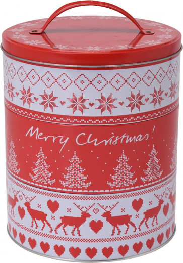 Set of 3 Tier Stacking Christmas Design Round Food Storage Biscuit Cookie Tins