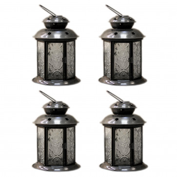 PACK of 4 Clear Pretty Moroccan Lantern Tealight ~ 14cm Tealight Candle Holder - Clear