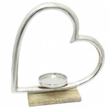Elegant Silver Metal Heart Tea Light Holder - Love Tealight Candle Ornament On Wooden Base
