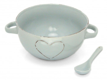 Lovely Pastel Stoneware Heart Embossed Bowl With Spoon - Blue