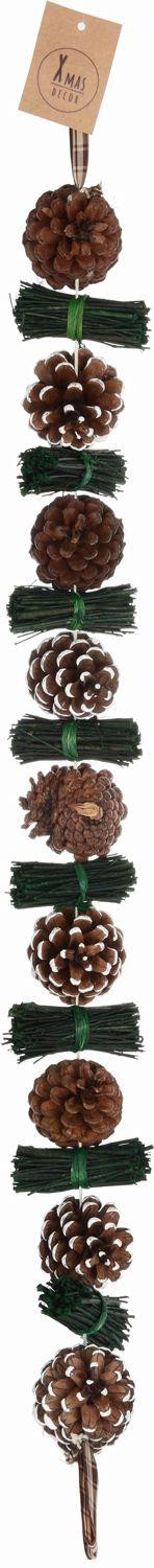 Traditional Rustic Frosted Pine Cone Garland Fireplace Decoration Swag - 80cm