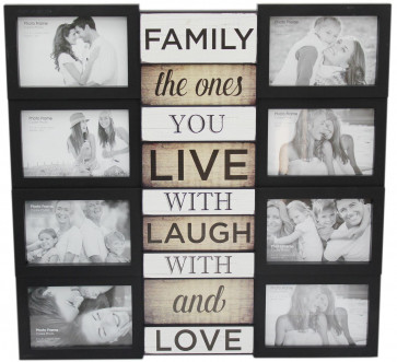 Large 8 Aperture Black Plastic Multi Collage Quote Picture Photo Frame ~ Family
