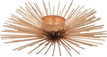 Gold Metal Wire Spike Celestial Sun Tealight Candle Holder - Contemporary Tea Light Votive Display 14cm