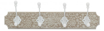 Stylish Wooden Rustic Boho Patterned Coat Hook Wall Plaque With 4 Hooks