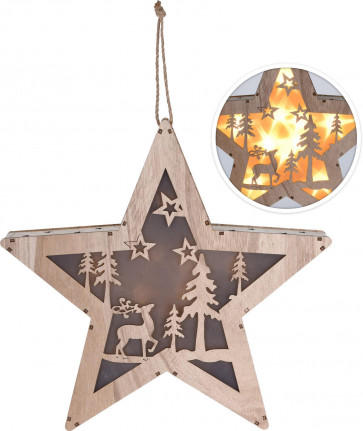 Large Battery Operated LED Light Up Reindeer Woodland Scene Wooden Christmas Star Hanging Fairy Lights Window Decoration