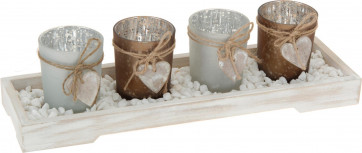 Beautiful Set Of 4 Frosted Glass Tealight Candle Holders With Tray
