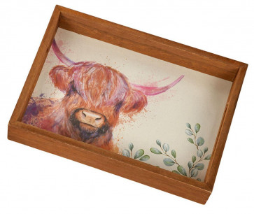 Painterly Animals Wooden Storage Serving Tray - Small Trinket Tray Jewellery Dish ~ Highland Cow