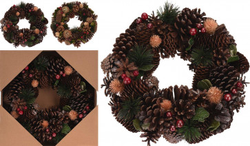 Natural Pinecone and Berries Festive Christmas Table Ring Wreath Centerpiece Decoration - Design Varies