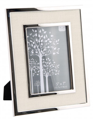 Gorgeous Silver Metal Picture Frame Cream Fabric Photo Frame