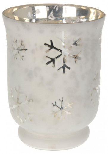 Beautiful Snowflake Design Large Christmas Silver White Tealight Holder