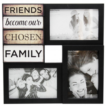 Wall Hanging Black Plastic Multi Collage Quote Picture Photo Frame ~ Friends
