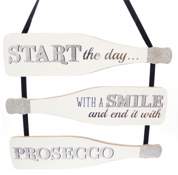 Wooden Prosecco Bottle Shape Wine Quote Plaque Wall Hanging Sign 30cm - Start The Day