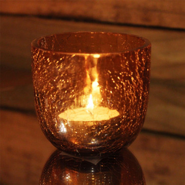 Crackle Tealight Candle Holder Pot - Orange