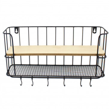 Rectangle Wall Shelf Unit with Hooks - 2 Tier Wooden and Black Metal Floating Shelves, Kitchen Spice Rack