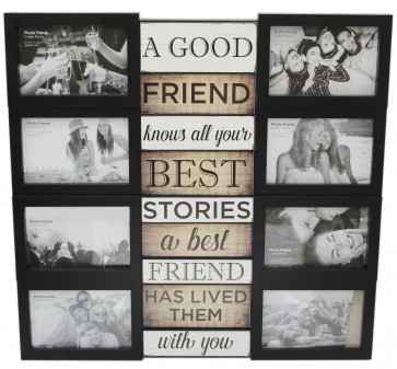 Large 8 Aperture Black Plastic Multi Collage Quote Picture Photo Frame ~ Friends
