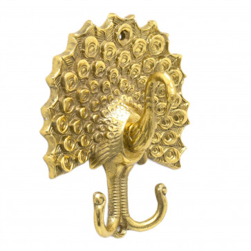 Double Golden Aluminium Peacock Hooks | Metal Wall Mounted Coat Hanger Pegs | Decorative Gold Effect Metal Wall Door Hook