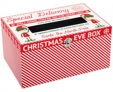 Xmas Santa's Elf Christmas Eve Present Treat Keepsake Wooden Box With Chalkboard