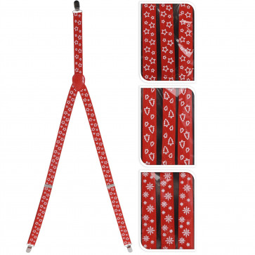 Adult Red Christmas Tree Braces | Xmas Office Party Celebration Fancy Dress Accessory | Novelty Clip On Trouser Braces | Xmas Suspenders | Design Varies One Supplied