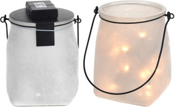Stunning Stone Effect Decorative Mason Jar Lantern With Led Lights - White