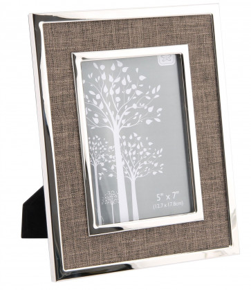 Beautiful Silver Metal Picture Frame Brown Fabric Photo Frame