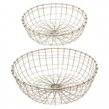 2 Piece Round Silver Display Baskets | Metal Home Storage Basket Set | Wire Vegetable Fruit Baskets
