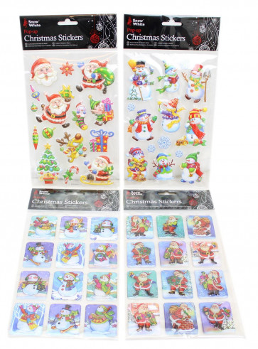 Festive Puffy Embossed 3D Christmas Stickers Pack For Children ~ Design Vary